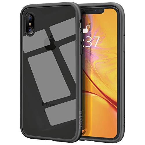 OCYCLONE iPhone XS Hülle, iPhone X Hülle, Hochwertigem 9H Gehärtetem Glas Rückseite mit Schwarz Soft TPU Rahmen Schutzhülle, Dünn Transparent Crystal Clear Case für iPhone X/XS (5.8 Zoll) - Schwarz