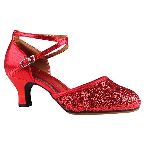 ZooBoo Damen Ballroom Latein Tanzschuhe - Professionelle Modern Dance Party Latein Salsa Tango Schuhe Zubehör Pailletten Sexy Weiche Sohle für Frauen (38 EU, Rot - Absatz 5.5 ()