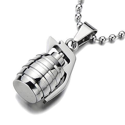 Grenade Pendentif Collier Homme Acier Inoxydable - Couleur Argent - Poli Mirro - avec 60CM Chaîne de Boule