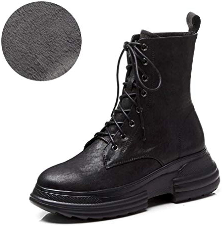 Yanyan Bottines pour Dames en Chaussures Cuir Automne et Hiver Chaussures en compensées Plateformes Bottes Martin Bottes Bottines... 74ef25
