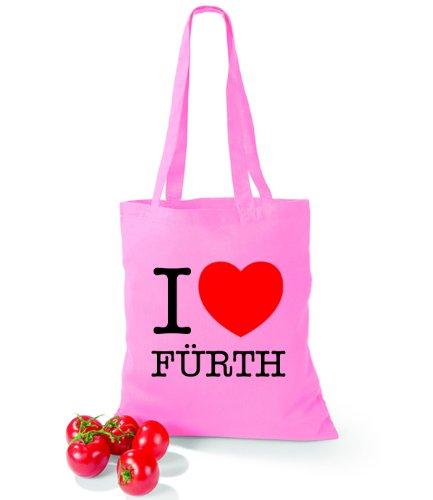 Artdiktat Baumwolltasche I love Fürth Classic Pink