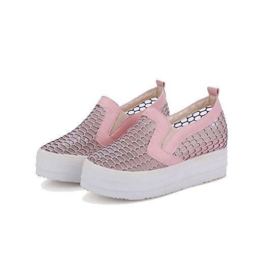 VogueZone009 Damen Blend-Materialien Mittler Absatz Rein Ziehen Auf Pumps Schuhe Pink