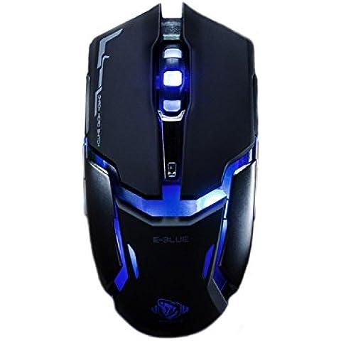 Xenics E-BLUE Auroza tipo im Pro Gaming Mouse OMRON interruptor, Chip AVAGO Gaming, 5 way interruptor DIP, Sensor óptico de gran alcance/luz