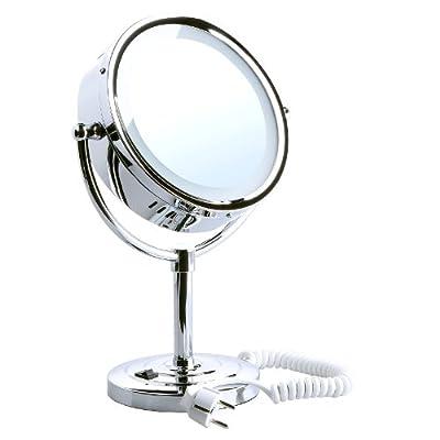 Songmics Desktop Kosmetikspiegel doppelseitiger Schminkspiegel 10-facher 8,5Inch Stand-Kosmetikspiegel mit LED Beleuchtung BBM005 von Songmics