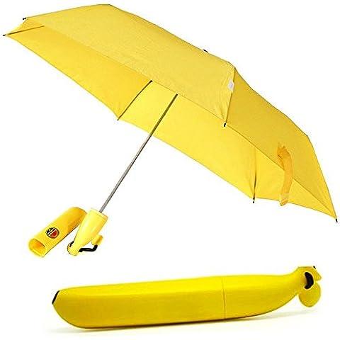 Superbison Ombrello pieghevole portatile per pioggia/sole per esterni a ombrello a forma di Banana giallo