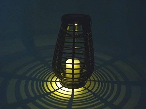 """LED-Solarleuchten-Gartenleuchte\""""Riss\"""" H:30cm Solar-Laterne Rattan-Optik schwarz Solar-Tisch-Balkon-Terrassen-Boden-Mauer-Treppen-Camping-Dekorations-Party-Weihnachts-Leuchte"""