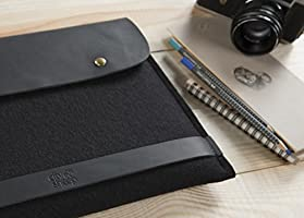 "CitySheep Handcrafted MacBook Pro Retina 13"" Case Made of Genuine Crazy Horse Leather and 100% Pure Merino Wool Felt from Germany. Black / Black."