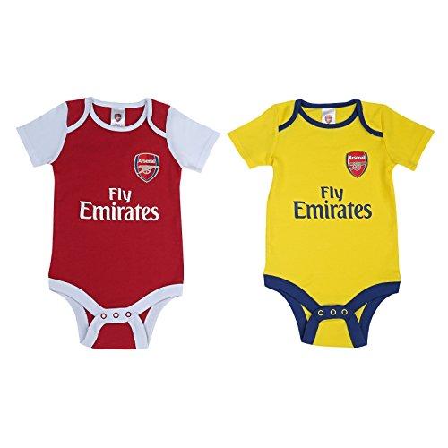 Gestickt Interlock (Arsenal FC - Baby Kurzarm-Bodys - Heim- & Auswärtstrikot - Offizielles Merchandise - Rot & Weiß - 2 Stück - Rot - 3-6 Monate)