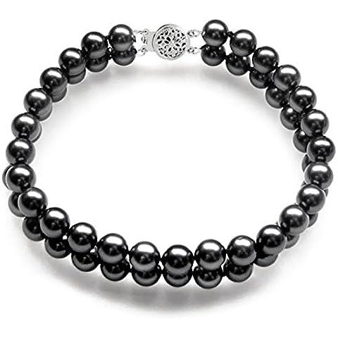 Oro bianco 14 k, colore: nero, doppio filo di perle giapponesi Akoya 17,78 cm (7