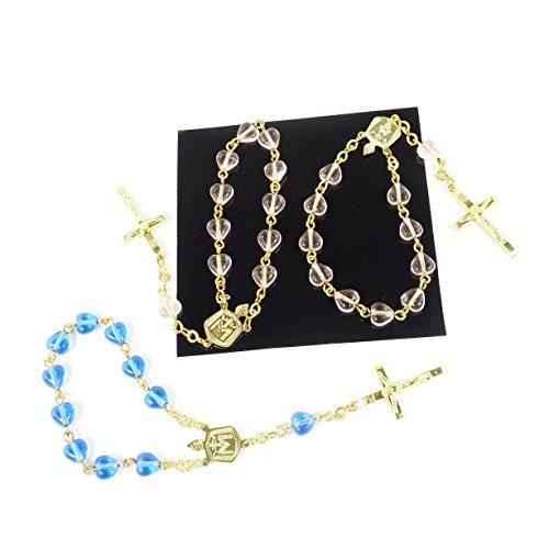 streitstones 3 Stück Taschen-Rosenkranz Herz-Glasperlen in rosa und blau - - Rosenkranz Blau Und Rosa