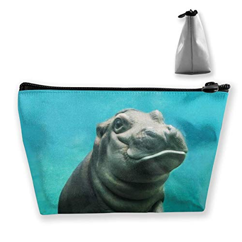 Makeup Bag Cosmetic Bag Travel Make Up Pouch Toiletry Case with Zippered Pocket for Women and Girls Baby Hippo - Stoff 9 Pocket Organizer