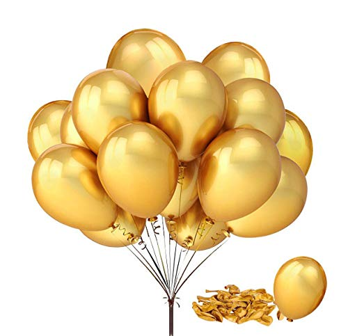 REYOK Luftballons Metallic Gold 50 Stück Luftballon Golden Metallic metallballon Helium Balloons Hochzeit Dekorationen Geburtstagsparty Liefert - Chrome 6
