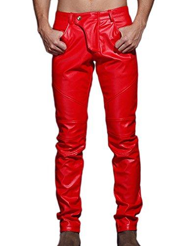 Idopy Herren Schlanke Passform Party Performance Biker Faux Leder Jeans Hosen Pu-Hose, Rot, 36(Taille 94cm) -