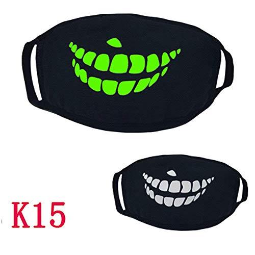 Qiusa Halloween 26 Stile Schwarz Party Leuchtenden Ghost Skull Half Face Scary Horror Maske (Farbe : O)