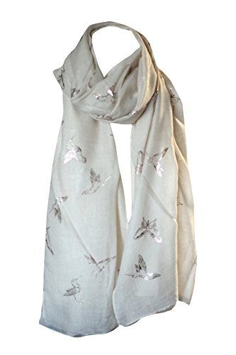 Folie gedruckt weiche Baumwolle Vogel & Schmetterling Print Schals Schal Wrap Stola Sarong Kopf Schal (Sahne mit Gold) (Schal Wrap Sarong)