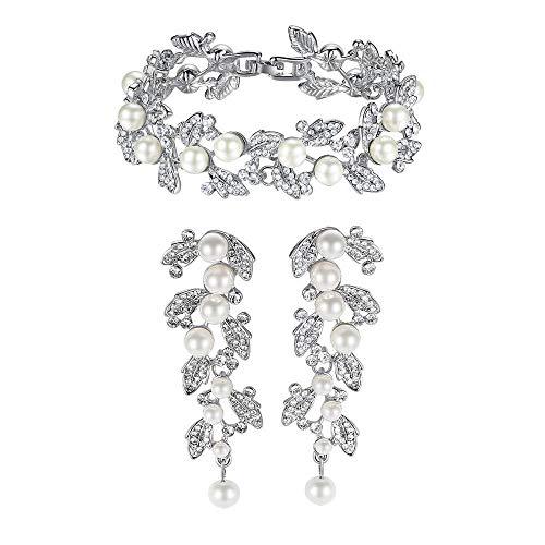SSLL Schmuckset Simulierte Perle Hochzeit Schmuck Für Frauen Silber Farbe Kristall Ohrringe Armband Braut Schmuck Sets