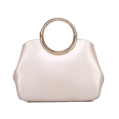 Exquisite Art Und Weisedamen Helle Lederne Handtasche Einfache Wilde Schulter Kurierbeutel White