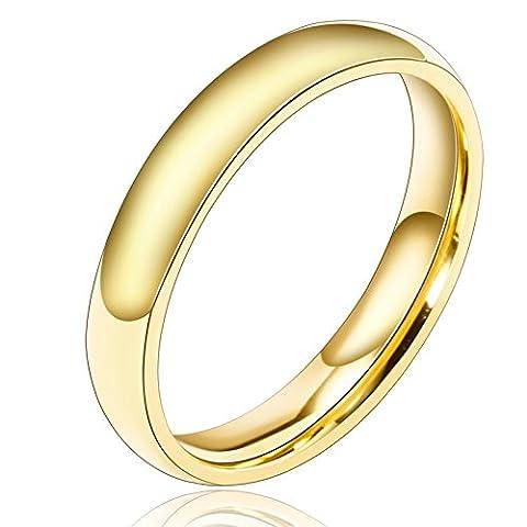 Aooaz Versilbert Ring Für Männer Breite 3MM Runde Ringe Einfach Design Damen Ring Gold Größe 57 (18.1) Verlobung