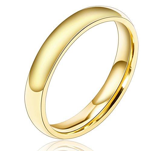Aooaz Versilbert Ring Für Männer Breite 3MM Runde Ringe Einfach Design Damen Ring Gold Größe 57 (18.1) Verlobung (Männer Gold Iced Out Uhr)