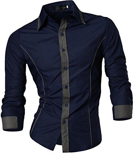 Jeansian uomo camicie un colore solido senza fiori moda abito camicia affari slim casual shirts 8015 navy l
