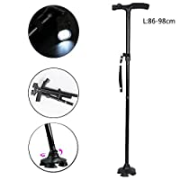 Aolvo Adjustable Height Walking Stick with LED Light, Heavy Duty Folding Canes for Men and Women, Aluminum Alloy T Handle Non-slip Base Balck Color