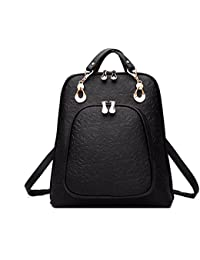803ed3182c4 DI GRAZIA Women s Backpack Handbag(Black-Embossed-Cross-Backpack,Black)