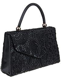 MOD BNWT Satin Silk Rose Flower Bridal Wedding Evening Handbag Party Purse  Clutch Hand Bag Black 6c410f92938dc