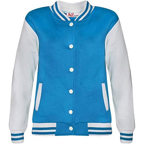 A2Z 4 Kids A2Z 4 Kids® Kinder Mädchen Jungen Baseball Jacke Varsity Stil - B.B Plain Jacket Blue 2-3