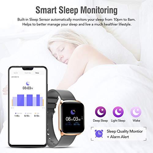 Imagen de smartwatch reloj inteligente impermeable ip68 deportivo pulsera actividad hombre mujer pantalla táctil completa cronómetro podómetro pulsómetro con monitor de sueño caloría para ios y android gris  alternativa