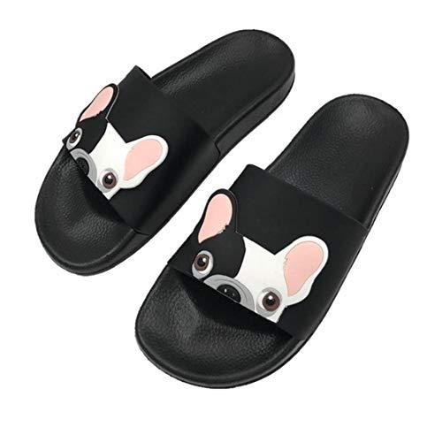Cartoon Französisch Bulldog Print Sommer Slide Hausschuhe für Männer Frauen Indoor Open-Toe Sandalen Schwarz Größe 38