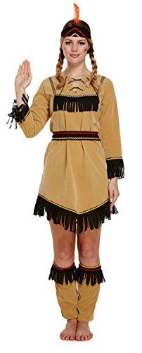 Indianer Damen Kostüm West Damen Erwachsene Kostüm UK 10 (Kostüme Für Indianer Erwachsene)