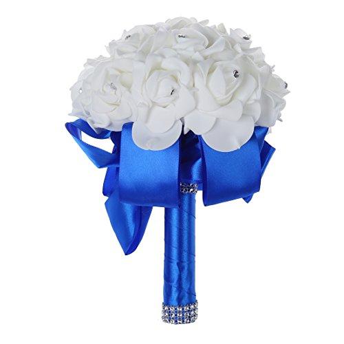 TOOGOO(R)Schoene Hochzeits-Blumenstrauss Blumenhochzeitsstrauss kuenstliche Blume Rose weisser Brautstraeusse mit blauer Band (Brautstrauß Blau)