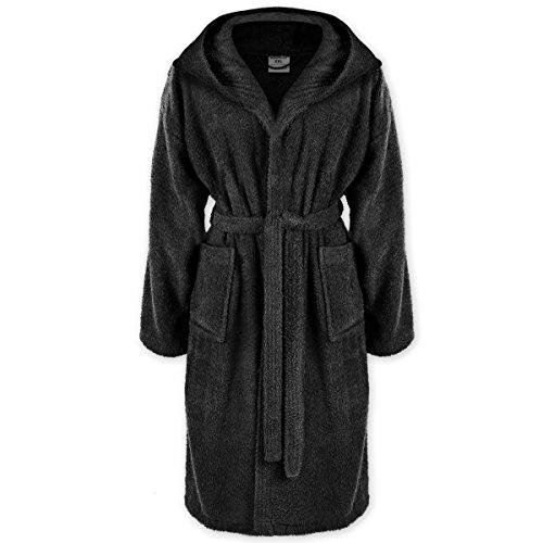 Gräfenstayn Bademantel mit Kapuze für Damen & Herren S–XXXL aus 100% Baumwolle in verschiedenen Farben – Öko-Tex Standard 100 (L, Schwarz)