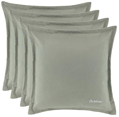 Brandsseller Outdoor Kissen Dekokissen - Schmutz- und Wasserabweisend mit Reißverschluss 2 cm Steg - 350 gr. Füllung - Größe: 48 x 48 cm - Farbe: Stone - 4er Vorteilspack