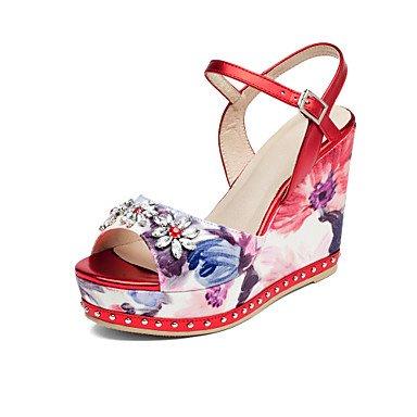 Sommer Schuhe Damen Sandalen Büro Kleid Party & Festivität-Leder-Keilabsatz-Club-Schuhe-Silber Rot Red