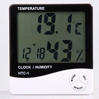 Digital LCD Temperature and Humidity Meter Clock Alarm by A-szcxtop(TM)