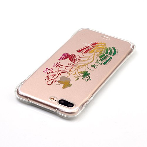 iPhone 7 Plus Coque,iPhone 7 Plus Gel Motif métallique TPU Case Feeltech Apple iPhone SE Case Silicone Clair Ultra Mince Premium Bumper iPhone 5S Housse Légère Étui Protecteur Transparente Souple Conc Papillon dégradé