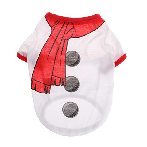 Vektenxi Haustier-T-Shirt, Weihnachts-Schneemann-Kostüm, für Hunde, Welpen, Katzen, - Schneemann Kostüm Für Hunde