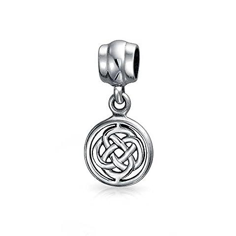 Runde Keltischer Knoten Dangle Bead Charm Silber