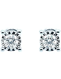 0.15Ct Illusion Set Round Diamond Screw Back Stud Earrings Crafted in White Gold