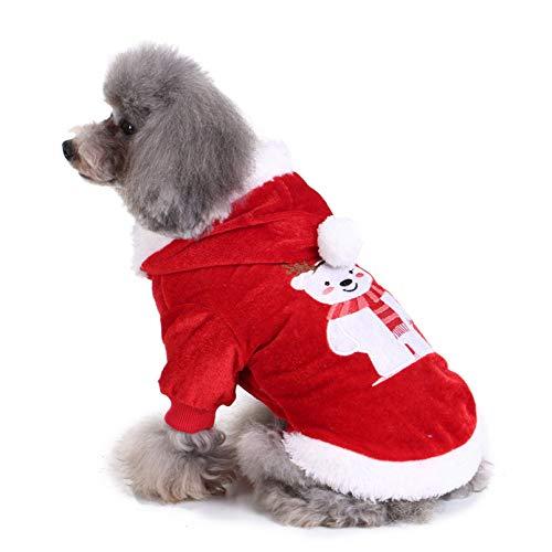 BAONUAN Haustier Kleidung Warme Hundetuch Hund Kleidung Mantel Weihnachten Bär Kleidung Welpen Doggy Kostüm Heimtierbedarf Hundebekleidung, XL (Bären Weihnachten Kostüm)