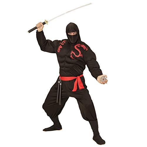 Widmann 00524 - Erwachsenenkostüm muskulöser Ninja, Muskelshirt, Sturmhaube, Hose und Gürtel, schwarz (Japan Motto Kostüm)