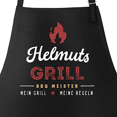 MoonWorks® Personalisierte Grill-Schürze für Männer mit Name BBQ Meister Meine Regeln Baumwoll-Schürze Küchenschürze schwarz Unisize