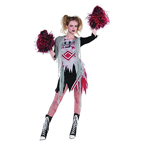 Groupie Kostüm Halloween - shoperama Halloween Damen-Kostüm Zombie-Cheerleaderin inklusive Pom-Poms Gr. S/M Horror Football Groupie