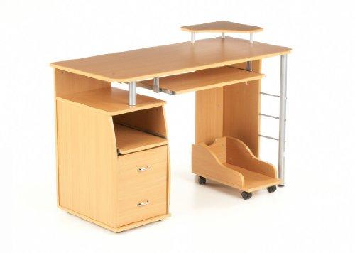 hjh OFFICE 673794 Schreibtisch VARIAL PROFI Buche / Silber mit Standcontainer
