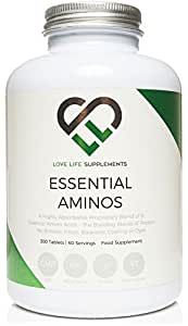 "Essential Amino Acids (EAA's) by LLS | Includes All 3 BCAA's Plus 5 More Amino Acids Necessary to Build and Repair Muscle | 300 Tablets / 60 Servings | 5-10g per Serving | Made in UK under GMP License | Love Life Supplements - ""Live Healthy, Love Life."""