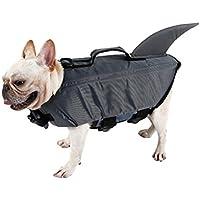 UEETEK Perro mascota chaleco salvavidas Perro chaleco flotador Traje lindo perro tiburón Cachorro traje de baño