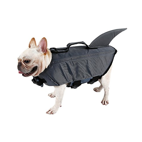 UEETEK Haustier Hund Schwimmweste Hund Floatation Weste Niedlichen Hai Hund Kostüm Welpen Sicherheit Badeanzug Bewahrer Kleidung für Schwimmen Größe L (Hund Hai-kostüm)