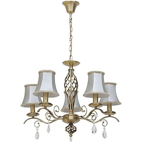 Lámpara de araña, lámpara colgante, estilo vintage, elegante, de metal color bronce antiguo, adornada con cristales, pantallas de tela color ahumado, luz cálida, para salón, dormitorio, comedor, diametro -65cm E14 5 x 60 W 230 V,