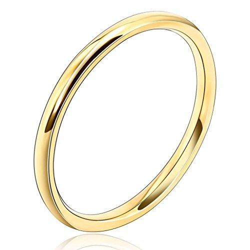 AnaZoz Schmuck 2MM 18K Gold Vergoldet Damen-Ring Eheringe Trauringe Band Top Ring Gold, Größe 62